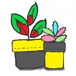 Plant Pot Holder Kit - Yellow/Grey