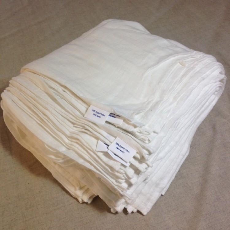 Bamboo and Organic Cotton 100 Muslin Cloths 60x60cm -