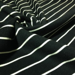 Fleece - Stripes Black with White Stripe