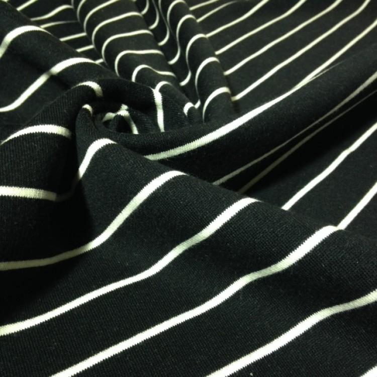 Fleece - Stripes Black with White Stripe