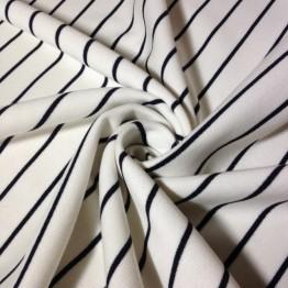 Fleece - Stripes White with Black Stripe