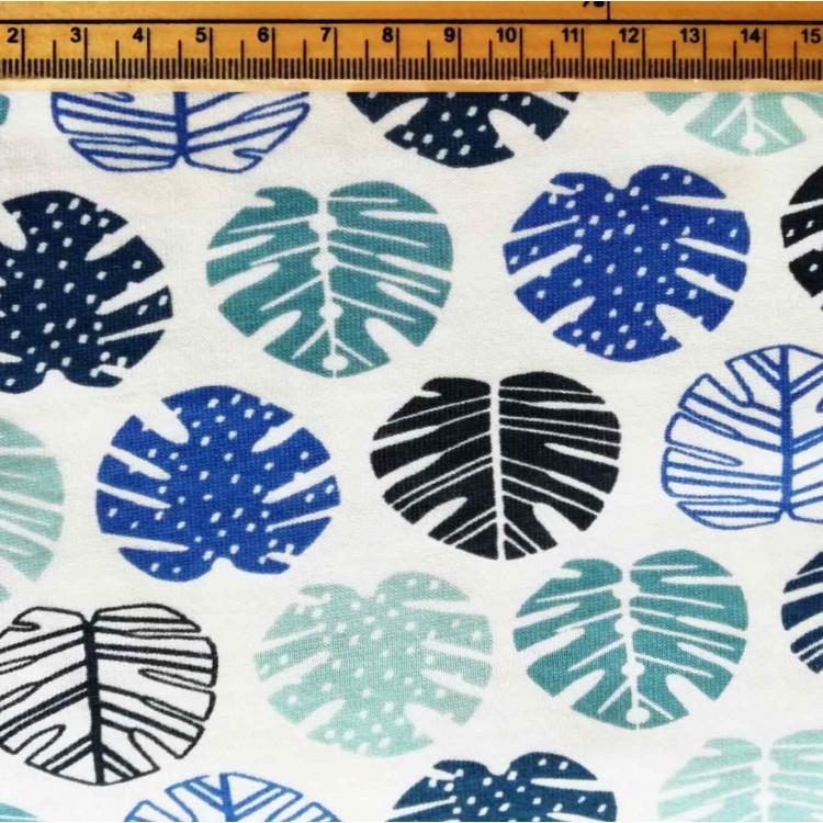 Single Jersey Palm Leaf Blue