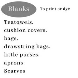 organic items to print , aprons tea towels and bags to screen print