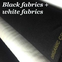 black fabric, white fabric organic cotton black and white.